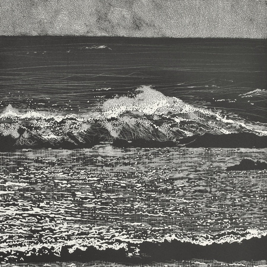 Buy 'Storm Waves VI', an original mixed media artwork by Trevor Price. Image shows a square black and white print of abstracted waves breaking into the sea