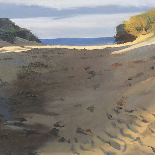 Buy original coastal landscape paintings by Graham Rider at The Biscuit Factory. Image shows a landscape painting of a grassy beach partially in shadow indicating the low light before night.