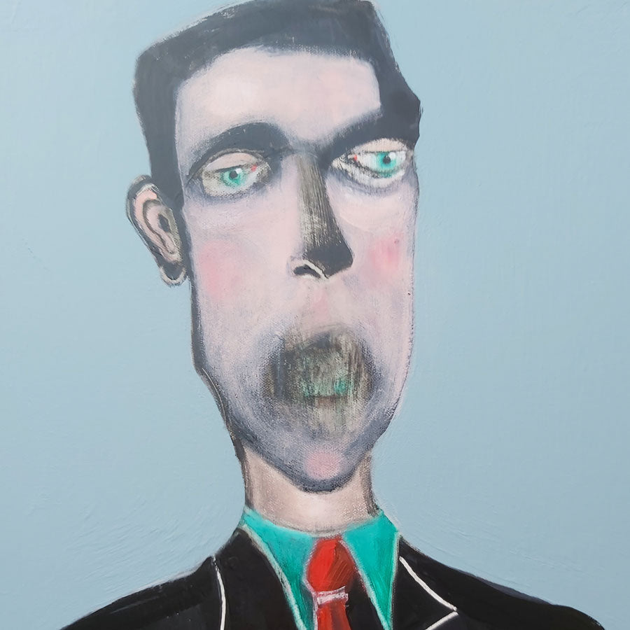 'Cry out Loud', an original oil painting by Peter Hallam at The Biscuit Factory. Image shows a oil painting of a man in a teal shirt, red tie and back jacket on a lavender background. His mouth is obscured by dark paint.