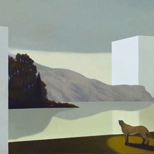Buy 'Lo Specchio della Isole' an original oil painting by Cesare Reggiani. Image shows a section of a larger painting - an oil painting of a landscape with a mountain and treeline and a white block on the edge of a lake in the background and a large spotted cat in the foreground looking across the scene
