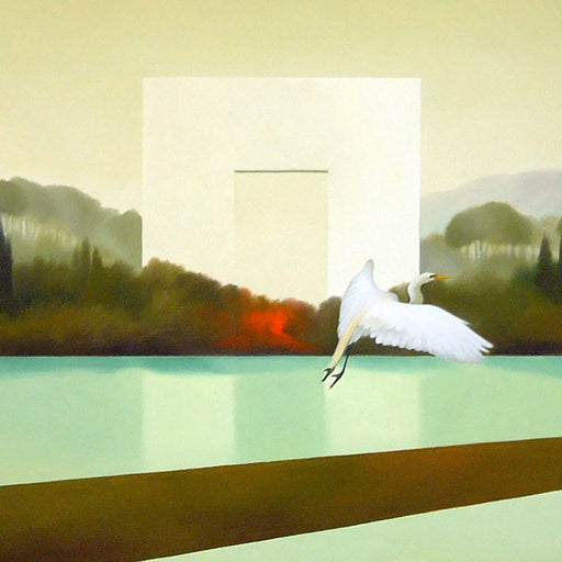Buy 'Passaggio del Fuoco' an original oil painting by Cesare Reggiani. Image shows a section of a larger painting - an oil landscape with mountains and trees in the background and a lake running through the centre of the canvas. A large off-white block emerges from the treeline and a white swan glides across the canvas to the right in the foreground