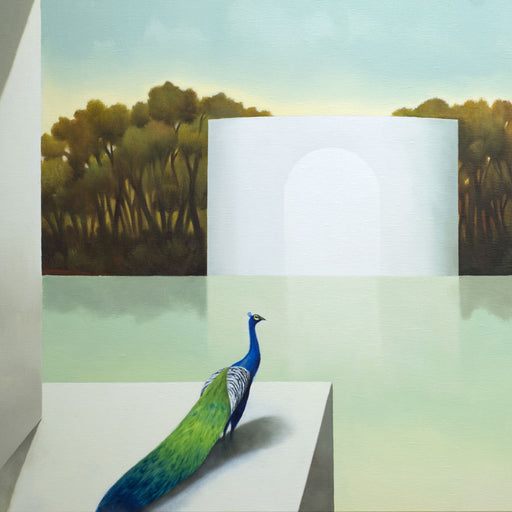 Buy 'Il Tempo del Ricordo' an original oil painting by Cesare Reggiani. Image shows a bold coloured Peacock looking out on a landscape of olive coloured trees and pale green land and a white rectangular building to the centre.