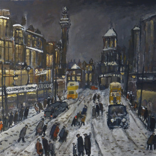 Buy 'Yellow Buses' is an original nostalgic painting of Newcastle scene by Malcolm Teasdale. Image shows a dark painting Newcastle town centre in the snow. Groups of figures are scattered across the scene, vintage black cars and yellow buses sit in the centre of the painting with Newcastle's Grey's Monument in the background.