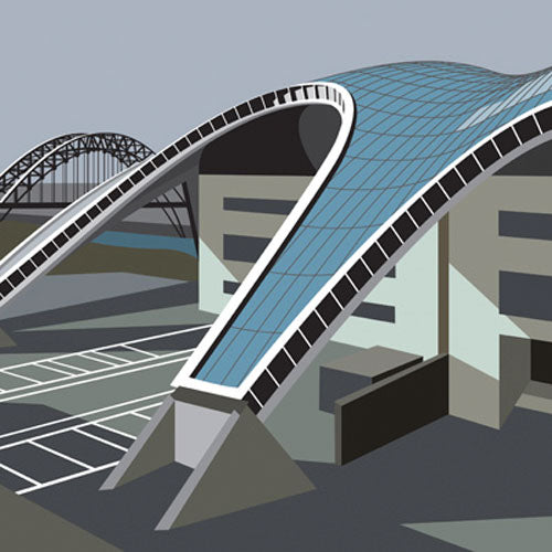 Buy 'The Sage Gateshead' an original print of a newcastle upon tyne landmark at The Biscuit Factory.