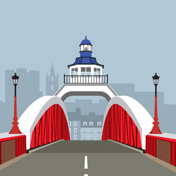 Buy 'The Swing Bridge' an original print of a newcastle upon tyne landmark by Ian Mitchell at The Biscuit Factory