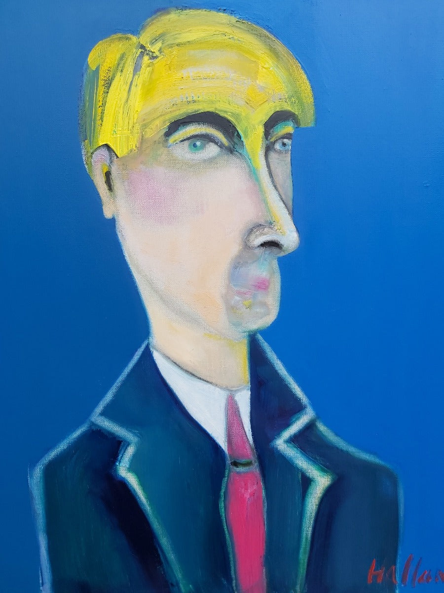 View and buy contemporary artwork online at The Biscuit Factory. 'The Blue Beyond', an abstract portrait painting by Peter Hallam. Image shows a portrait of a man with blonde hair and a navy suit on a blue background.