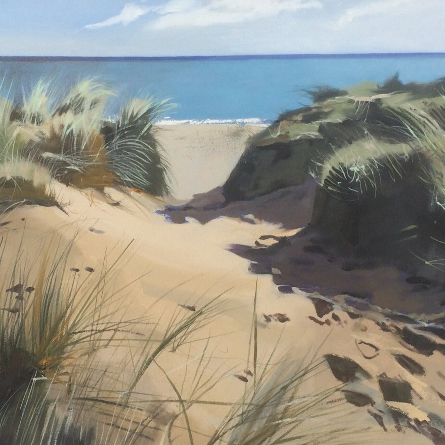 Buy original landscape paintings online at The Biscuit Factory. 'Moonrise', a coastal landscape by Graham Rider. Image shows a beach scene of a path of footprints leading between grass covered sand dunes and down to the sea.