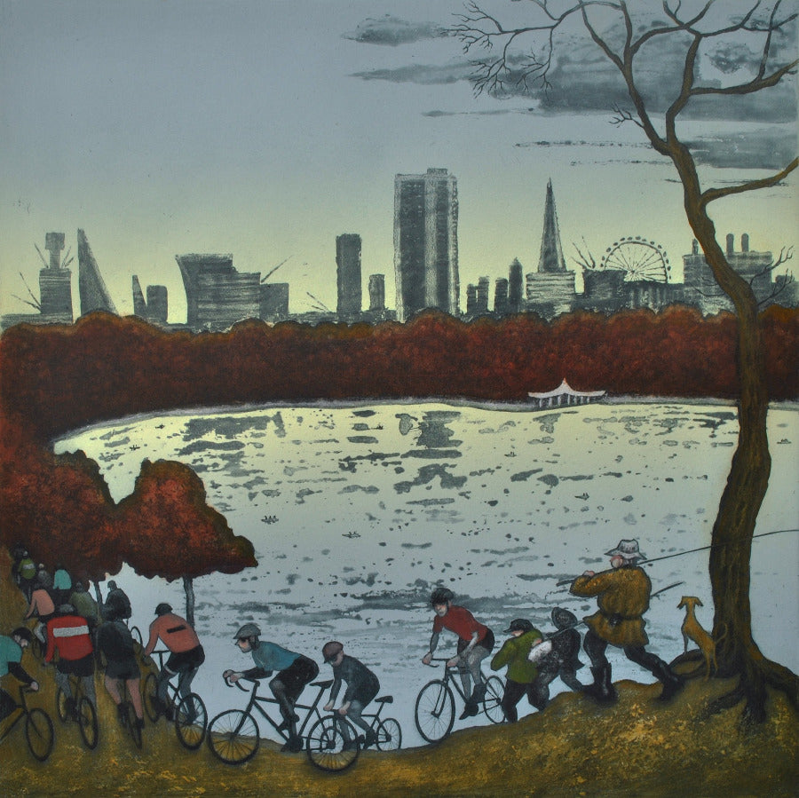 Buy 'The Serpentine Hyde Park, Autumn, After Bruegal', an original print by Mychael Barratt at The Biscuit Factory.