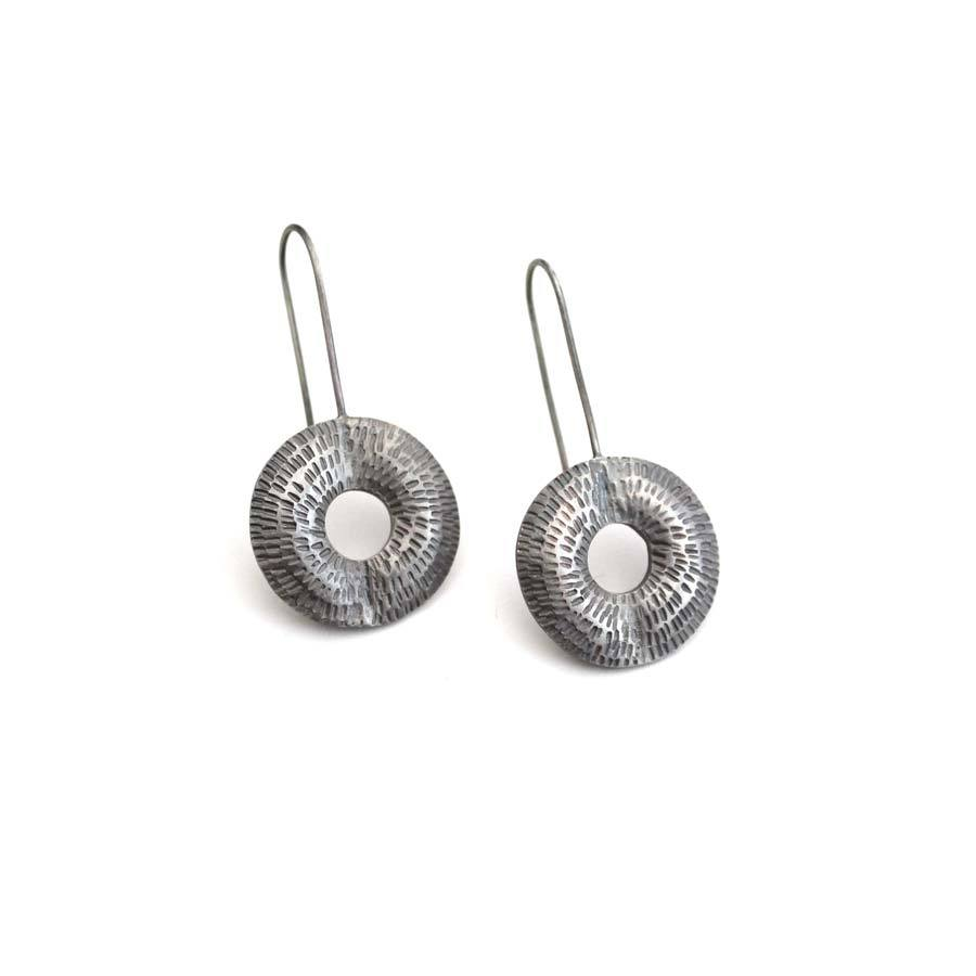 Buy 'Torus Drop Earrings (Oxidised silver)' handmade jewellery by Caitlin Hegney at The Biscuit Factory, Newcastle upon Tyne.