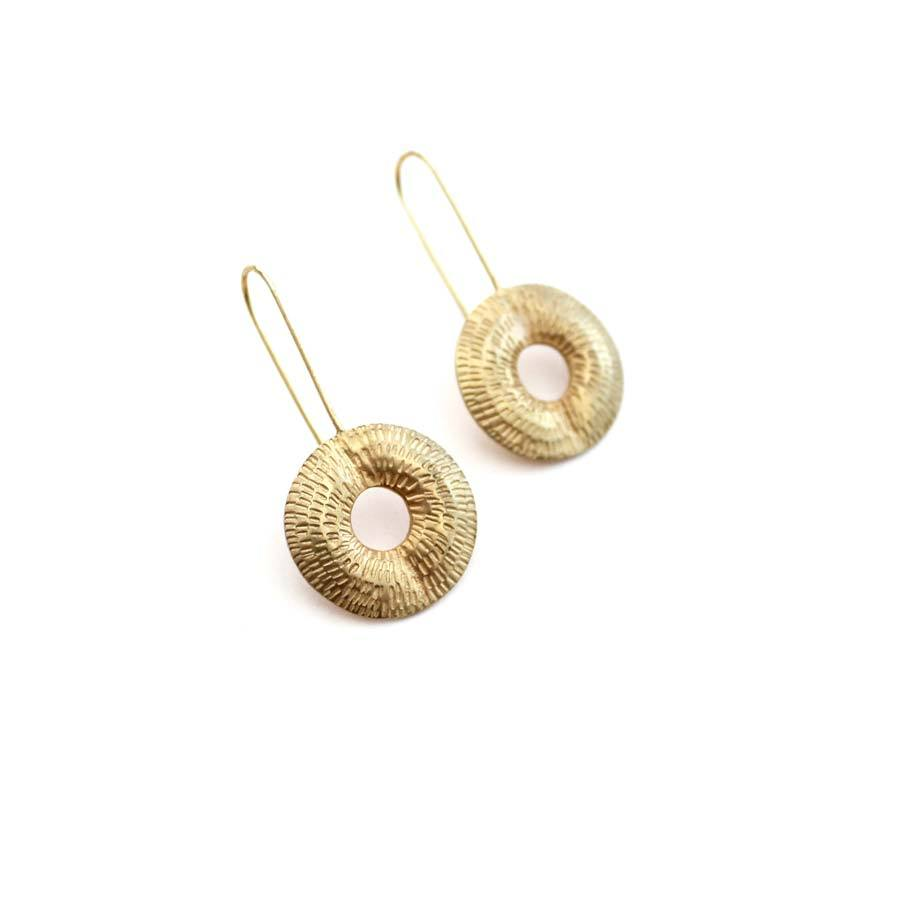 Buy 'Torus Drop Earrings (Gold)' handmade jewellery by Caitlin Hegney at The Biscuit Factory, Newcastle upon Tyne.