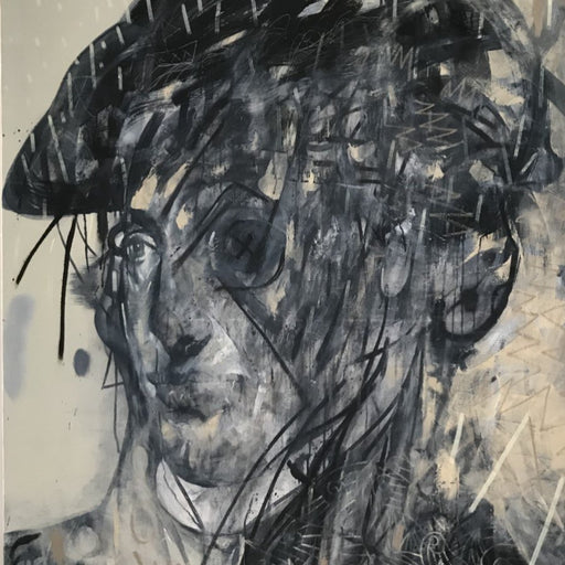 Buy 'Turner Tied Himself to the Mast of Ship', a large oil and mixed media artwork by Newcastle-based artist Dan Cimmermann. Image shows a greyscale portrait of a historical figure obscured by graffiti-style markings.