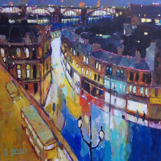 Buy 'Tyne Bridge & Side' an abstract landscape of Newcastle upon Tyne by Anthony Marshall. Image shows a painted landscape of Newcastle's Quayside with the high level bridge in the background and the street of curved buildings to the right in blues and yellows.