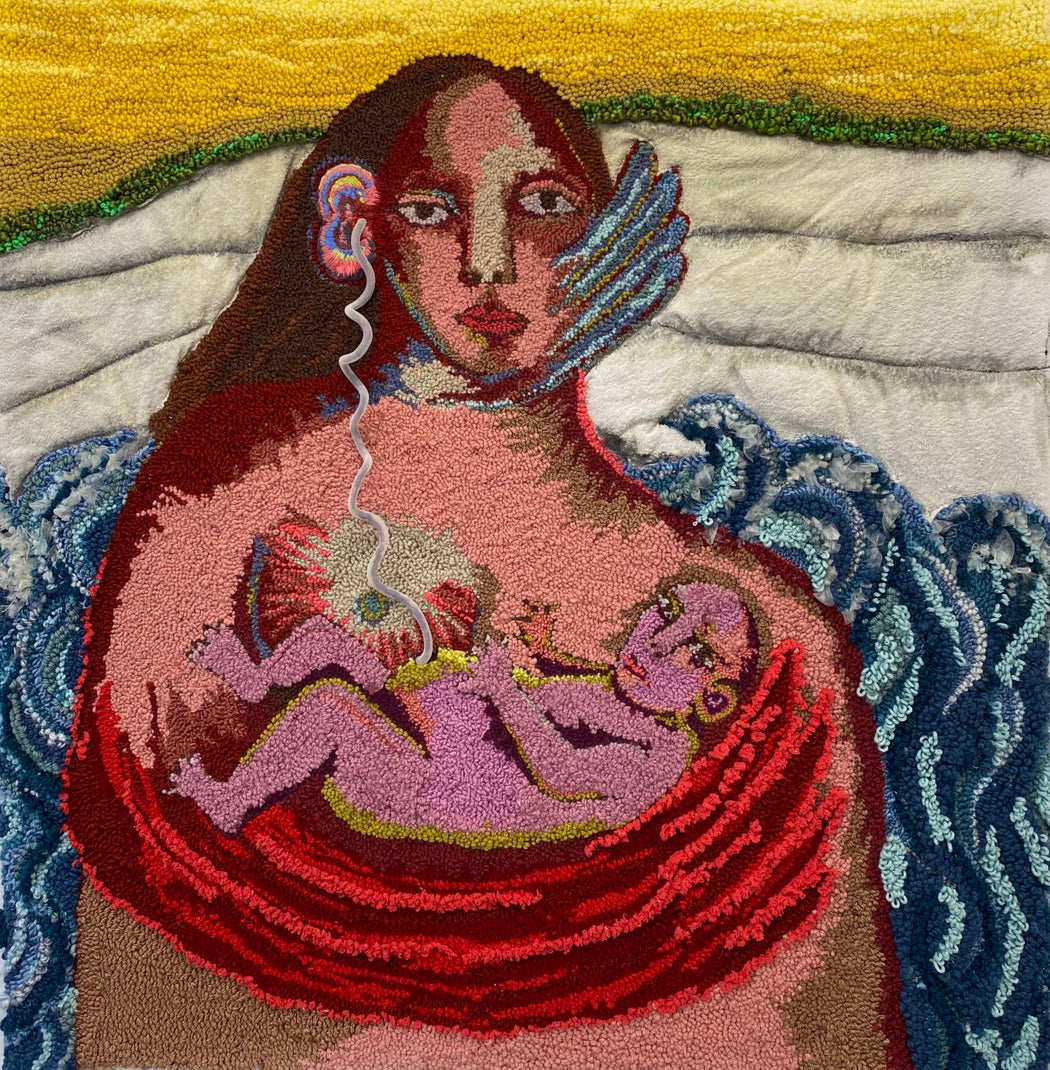 Buy 'Umbilicus', a tapestry wall hanging by textile artist Selby Hurst Inglefield. Image shows an abstracted portrait of a female figure cradling a baby in her wing, a cord twists up to the ear from the baby.
