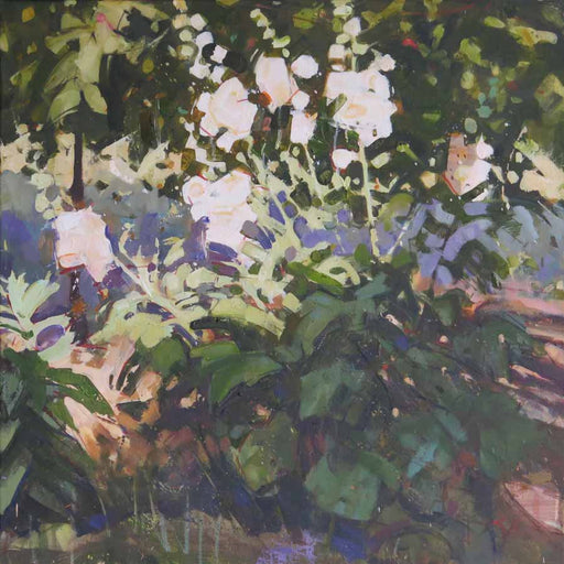 Buy 'Unruly Hollyhocks', an original painting by Richard Sowman at The Biscuit Factory.