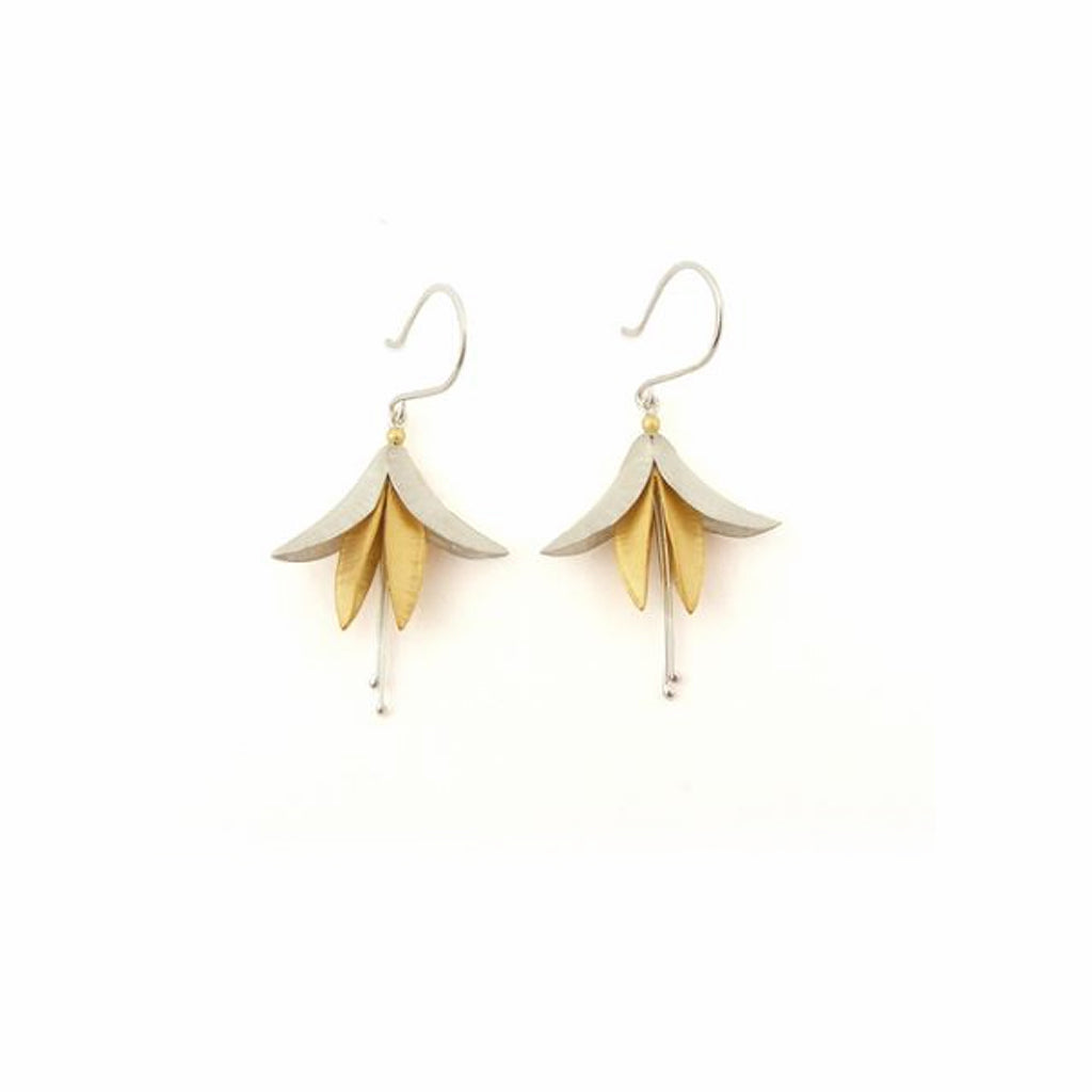 Buy 'Silver and Gold Fuchsia Earrings' handmade jewellery by Nettie Birch at The Biscuit Factory