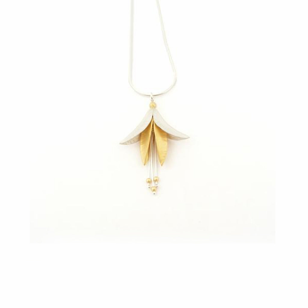 Buy 'Silver and Gold Fuchsia Pendant' handmade jewellery by Nettie Birch at The Biscuit Factory