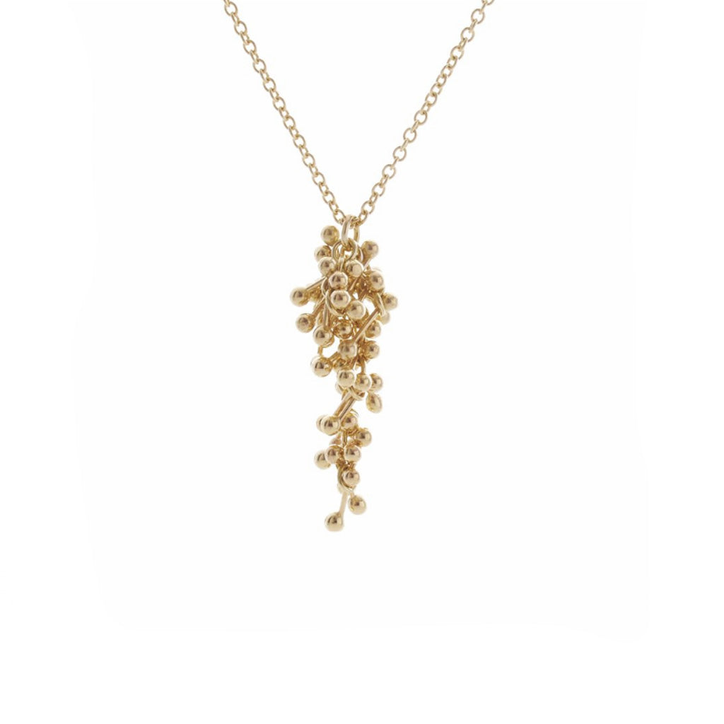 Buy 'Gold Molecule Drop Necklace' handmade jewellery by Yen at The Biscuit Factory