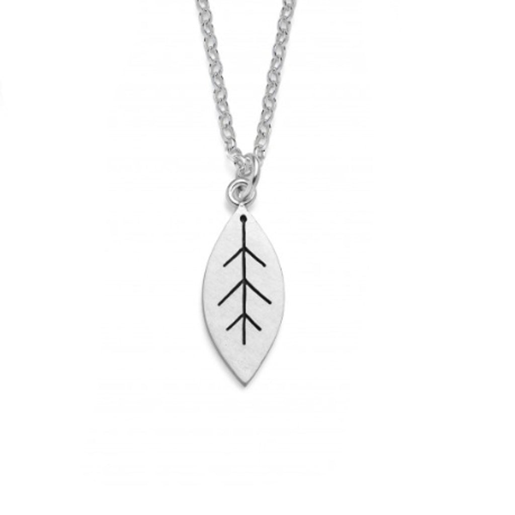 Buy 'Leaf Pendant', handmade jewellery by Diana Greenwood at The Biscuit Factory. Image shows a sliver pendant and chain on a white background. The leaf-shaped pendant is decorated with dark lines.