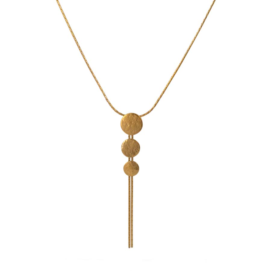 Buy 'Triple Disc Pendant (gold)' by jewellery designer Cara Tonkin at The Biscuit Factory, Newcastle Upon Tyne.