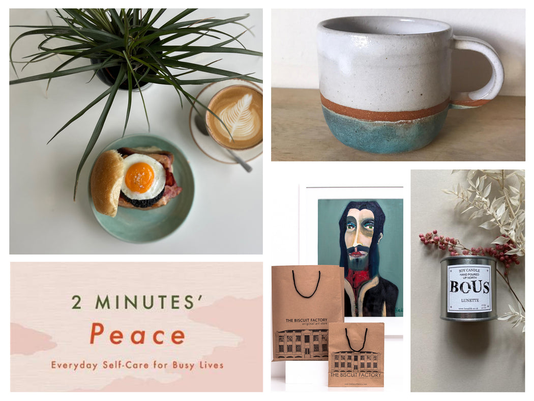 Buy exclusive curated gift boxes at The Biscuit Factory online - sustainable and unique gifts that support local artists. The Unwind Maker's Parcel is the perfect present for those looking for a mindfulness moment.
