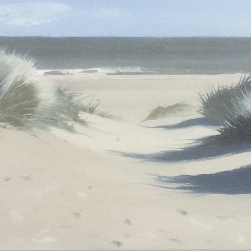Buy 'View to the Sea', a coastal landscape by Graham Rider. Image shows a painting of a beach scene in pastel shades with grass covered sand dunes on either side of the canvas and a calm grey sea in the distance.