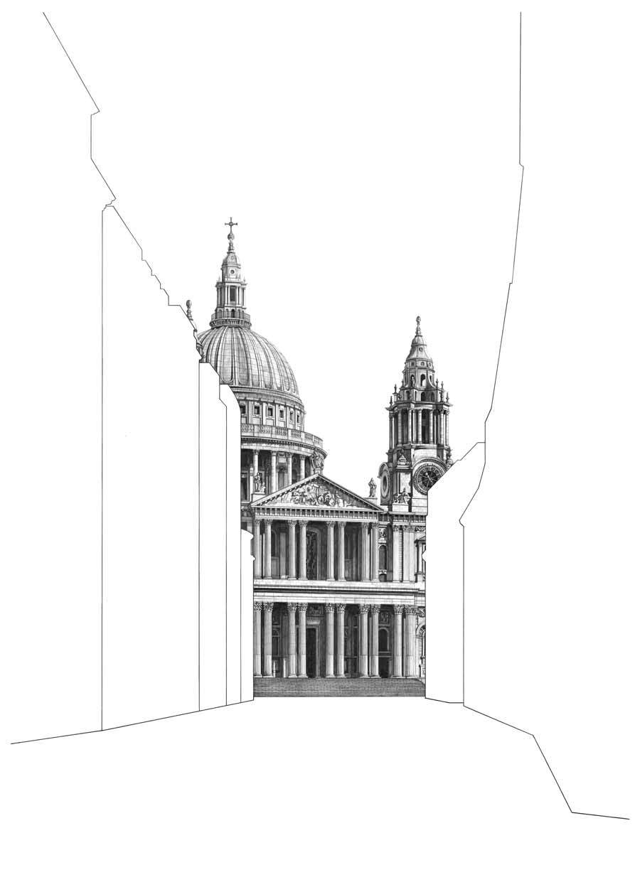 Buy 'St Paul's Cathedral No. 7', an original graphite drawing by Minty Sainsbury at The Biscuit Factory. Shortlisted for the Contemporary Young Artist Award 2020.