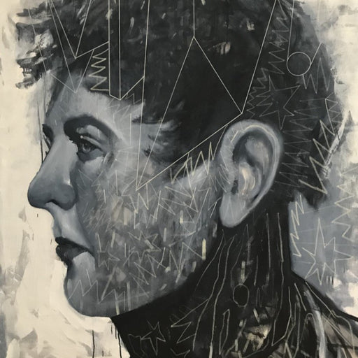 Buy 'Western', a large oil and mixed media artwork by Newcastle-based artist Dan Cimmermann. Image shows a greyscale portrait of a historical feature obscured by graffiti-style markings.