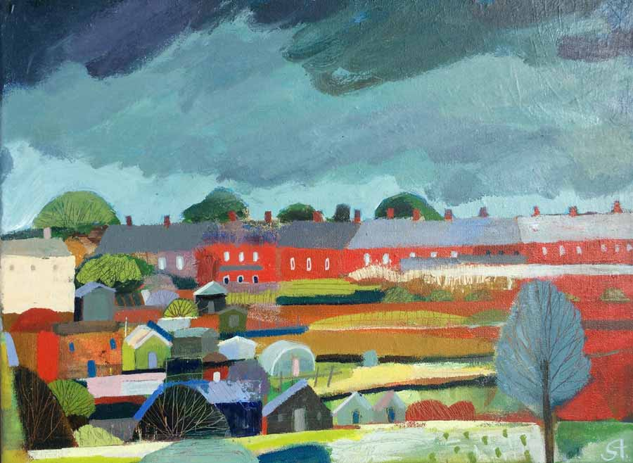 Buy 'Wrekenton Allotments', an original painting by Michael St. Clair at The Biscuit Factory.
