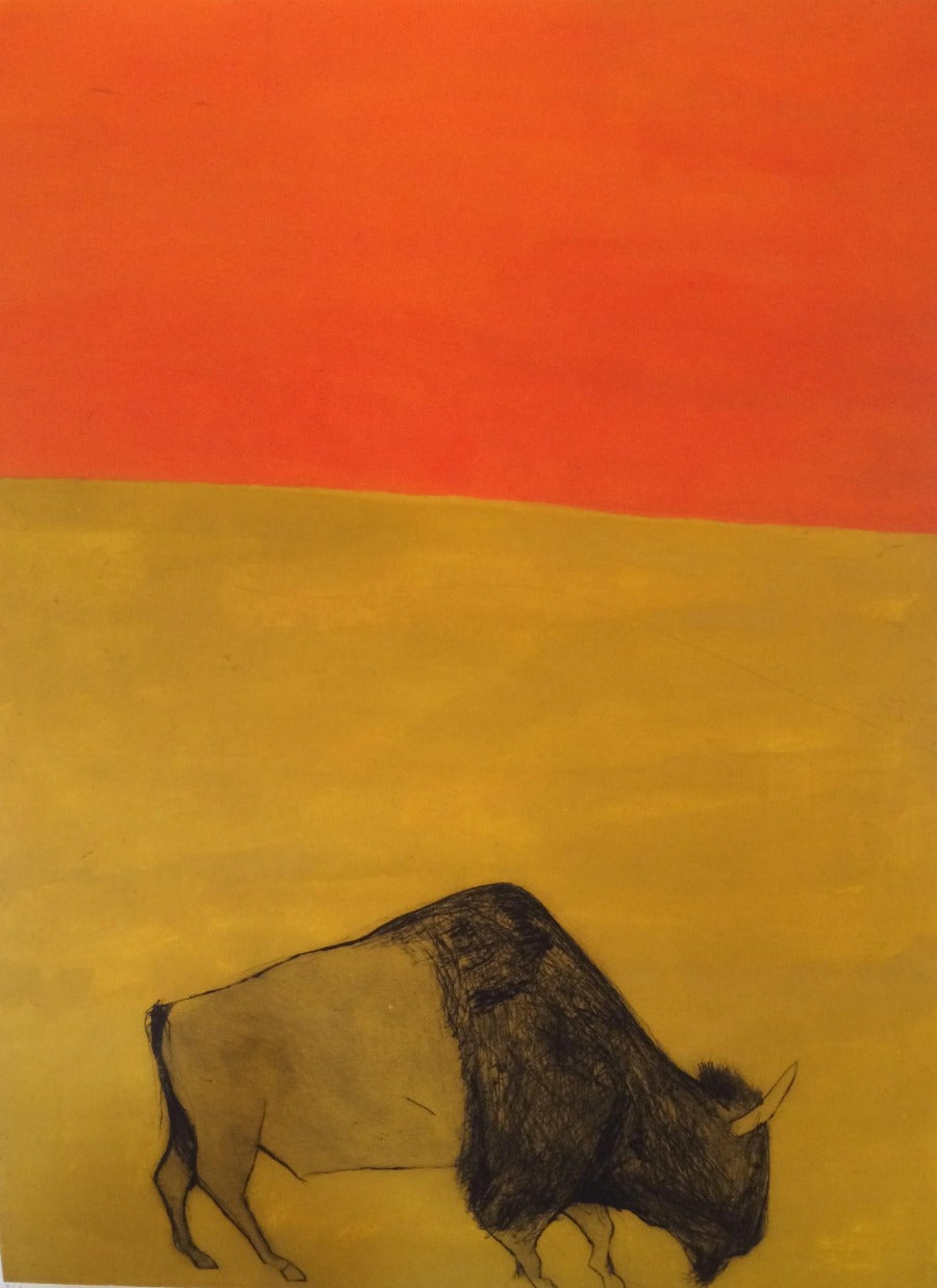 Buy 'I feel like an African prince' a large mixed media print by Kate Boxer. Image shows a coloured print evenly split between yellow on the bottom and orange to the top with a grazing buffalo sketched in the foreground