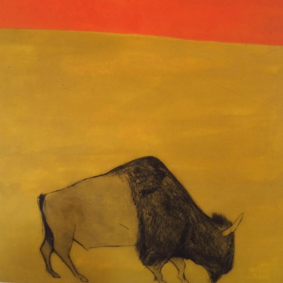 Buy 'I feel like an African prince' a large mixed media print by Kate Boxer. Image shows a print largely in yellow with a small strip of orange to the top of the canvas and a grazing buffalo sketched in the foreground