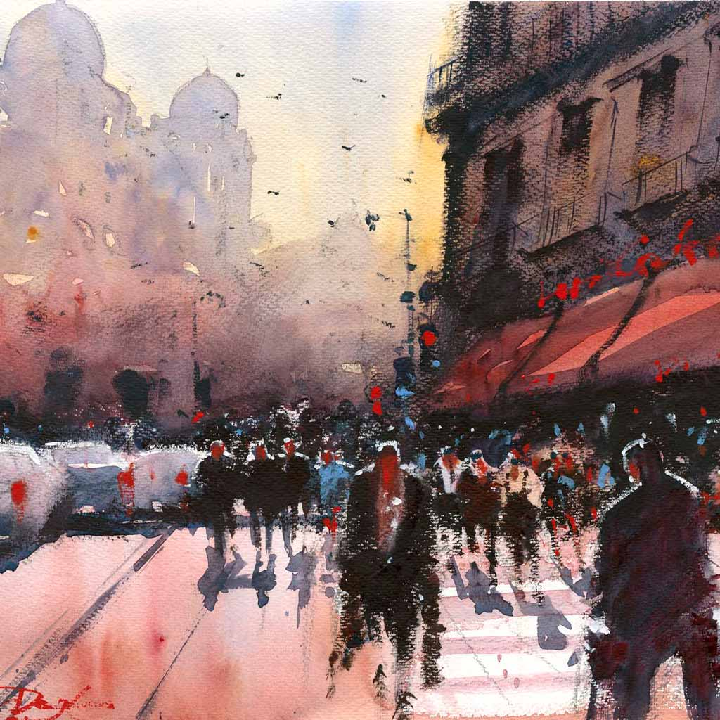 Buy 'City Heat', an original watercolour painting by Alan Smith Page at The Biscuit Factory.