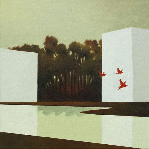 Buy 'Foresta del Fuoco' an original oil painting by Cesare Reggiani. Image shows a landscape painting with two white blocks at either side reflected in a body of water underneath them. In between the buildings lies a wood. 3 red silhouetted birds fly across the rightmost white block to the edge of the canvas.