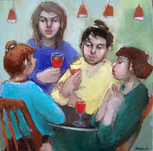 Girls Night Out is an original oil painting by artist Basia Roszak. Image shows an oil painting of 4 women sat around a table with wine glasses.