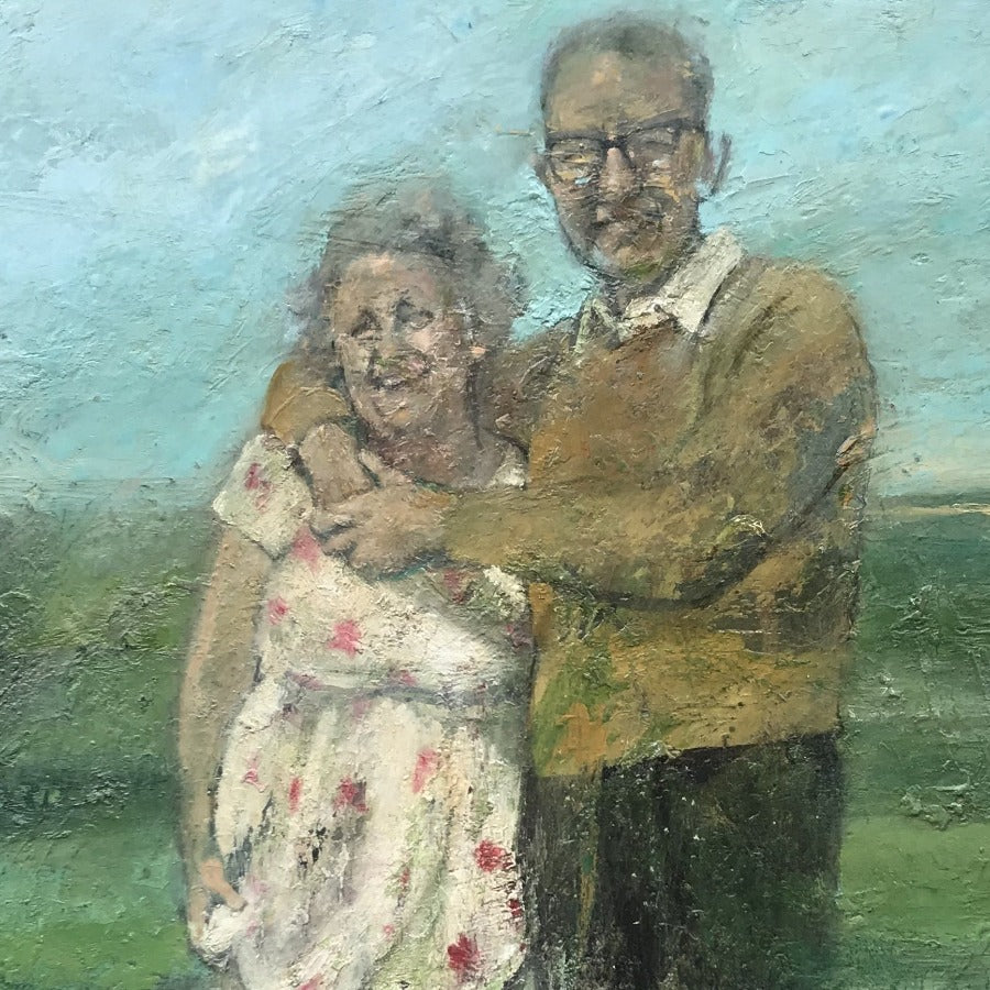Buy 'Mary and Dan', a coastal scene oil painting by Rhonda Smith. Image shows a textured oil painting of a couple with grey hair paddling in a green sea.