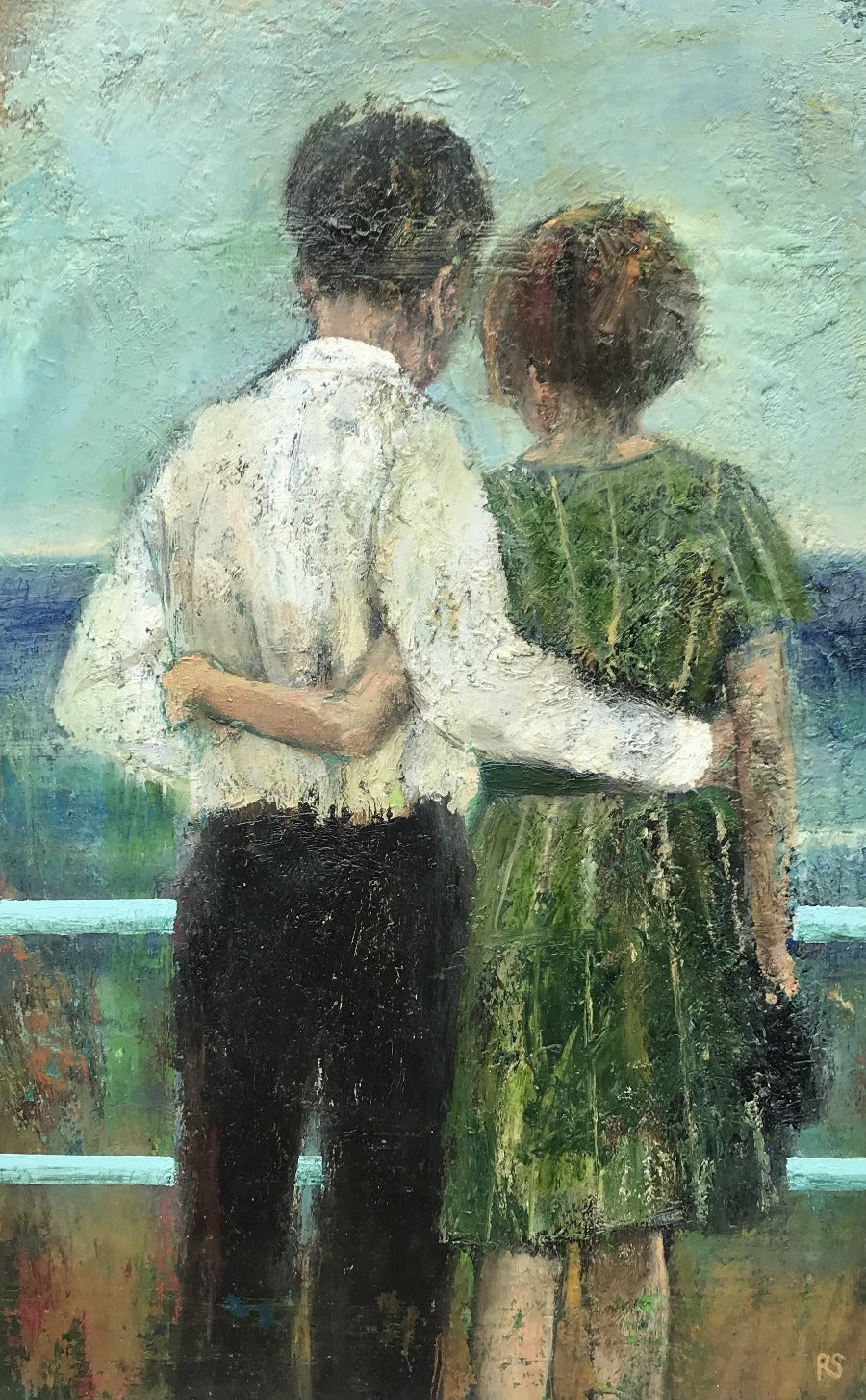 'Couple on Prom', a coastal scene oil painting by Rhonda Smith. Image shows a textured oil painting of a man in white and black and a woman in green facing away from the viewer into a stretch of blue with their arms around each other's waist.