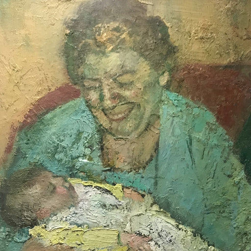 Buy 'Proud Gran', a textured oil painting by Rhonda Smith. Image shows a painting of a brunette woman in blue smiling down at a baby in her arms wearing yellow and white. The background is ochre and red