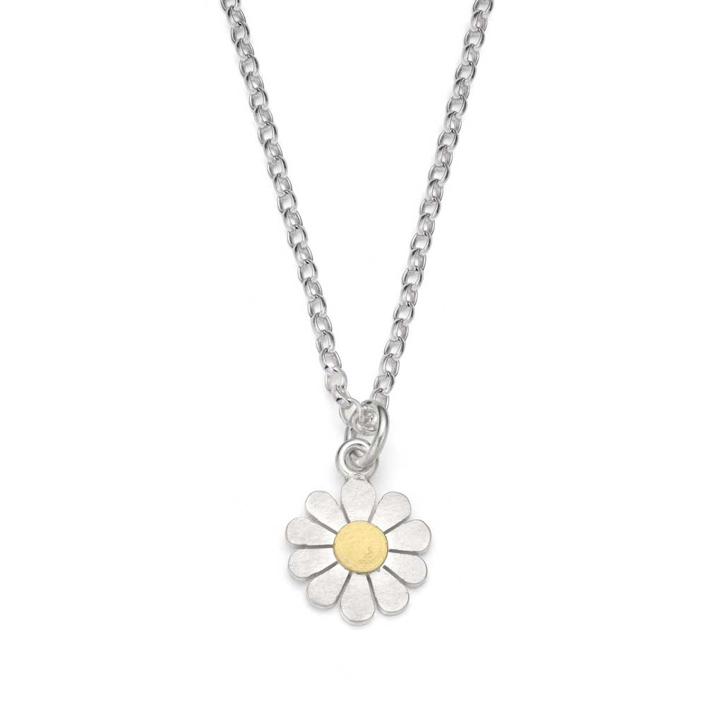 Buy 'Little daisy pendant', a handmade floral necklace by Diana Greenwood. Image shows a silver chain and daisy pendant sat on a white background. The centre of the pendant is gold.