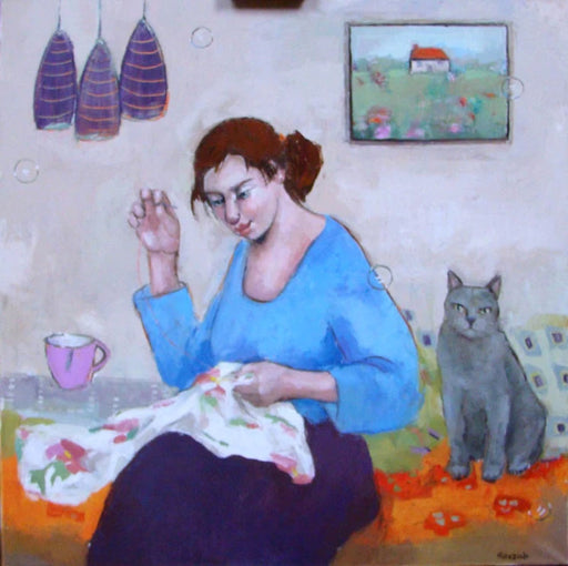 Pink Cup is an original oil painting by artist Basia Roszak. Image shows an oil painting depicting an brunette woman in blue sat on an orange sofa sewing a floral patterned dress, to her left is a pink cup and to her right is a grey cat