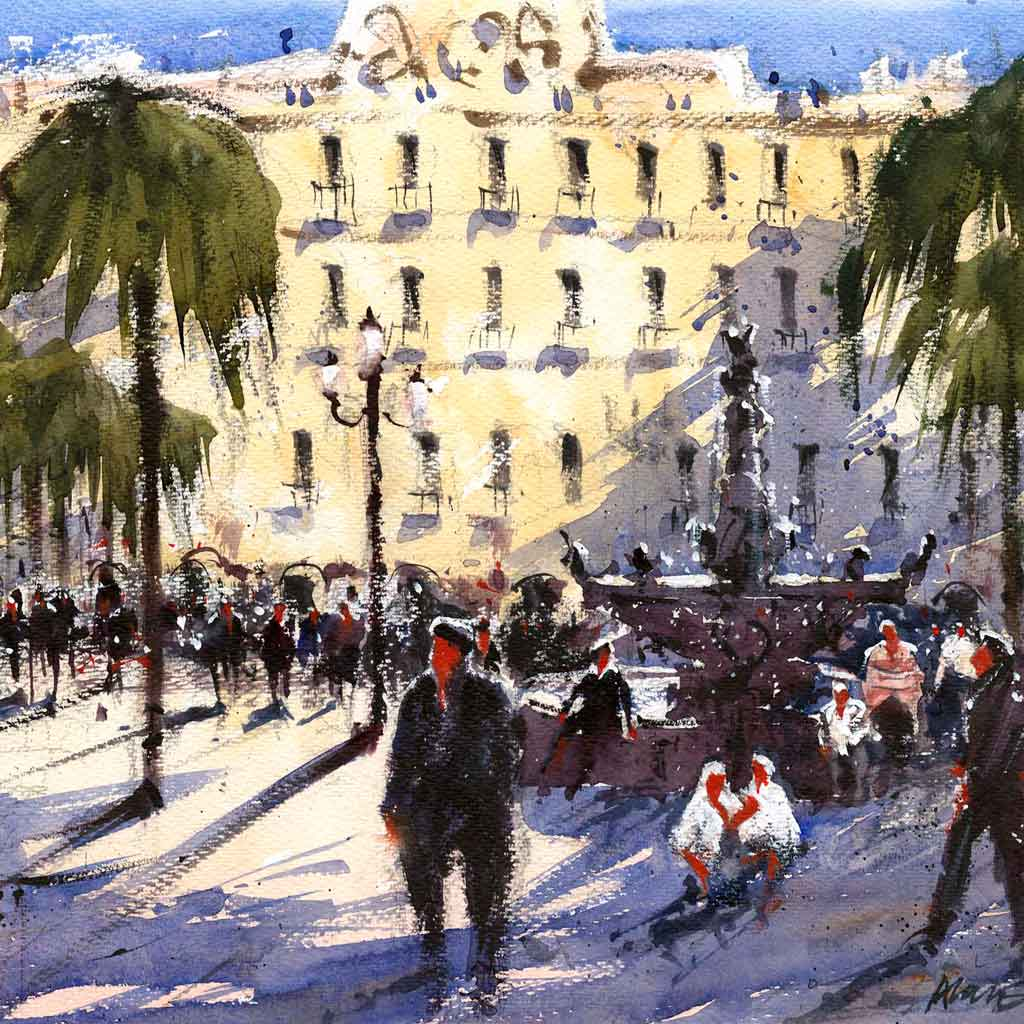 Buy 'Plaza Realty, Barcelona', a framed watercolour painting by Alan Smith Page. Image shows a watercolour painting of a busy Barcelona street with figures crowed around a grey water fountain. The background is almost filled by a large pale yellow building. Green trees are seen on either side of the page.