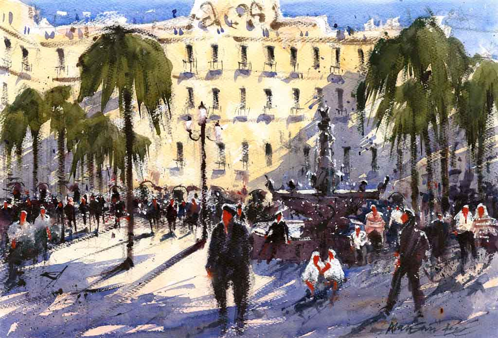 Buy 'Plaza Realty, Barcelona', a framed watercolour painting by Alan Smith Page. Image shows a watercolour painting of a busy Barcelona street with figures crowed around a grey water fountain. The background is almost filled by a large pale yellow building. Green trees flank the scene at either side..