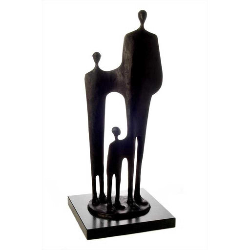 Buy 'Progeny' a figurative sculpture suitable for indoor and outdoor display by Jennifer Watt. Image shows a tall sculpture of three elongated figures in varying heights stood on a black square base against a white background.