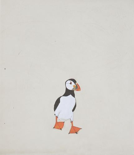Buy 'Puffin' a large mixed media print by Kate Boxer. Image shows a print of a puffin with a white and black body, multi-coloured beak and orange webbed-feet captured front facing on pale beige paper.
