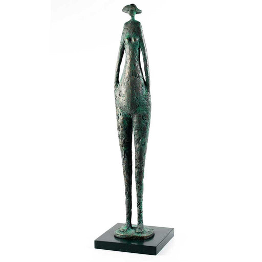 Buy 'Sunseeker' a figurative sculpture suitable for indoor and outdoor display by Jennifer Watt. Image shows a green/grey sculpture of an elongated figure wearing a hat stood on a square base against a white background.