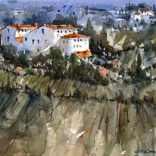 Buy 'Tuscan Vista', a framed watercolour painting by Alan Smith Page. Image shows a watercolour landscape of a collection of white buildings with orange roofs scattered across a mountainous landscape with the cliff face in the foreground.