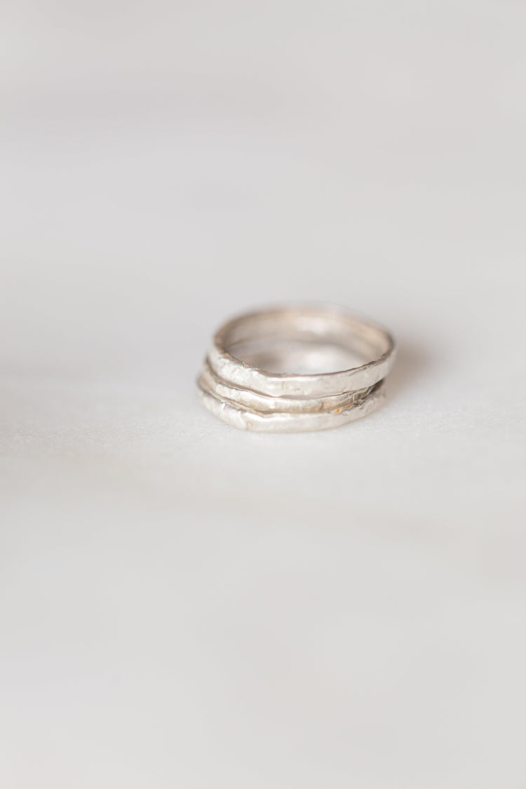 Silver Organic Stacking Ring Set - Minted Jewellery