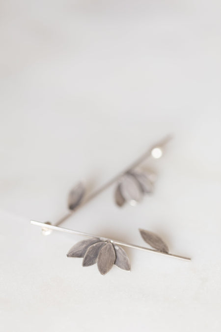 Oxidized Sterling Silver Leaf Earrings - Minted Jewellery
