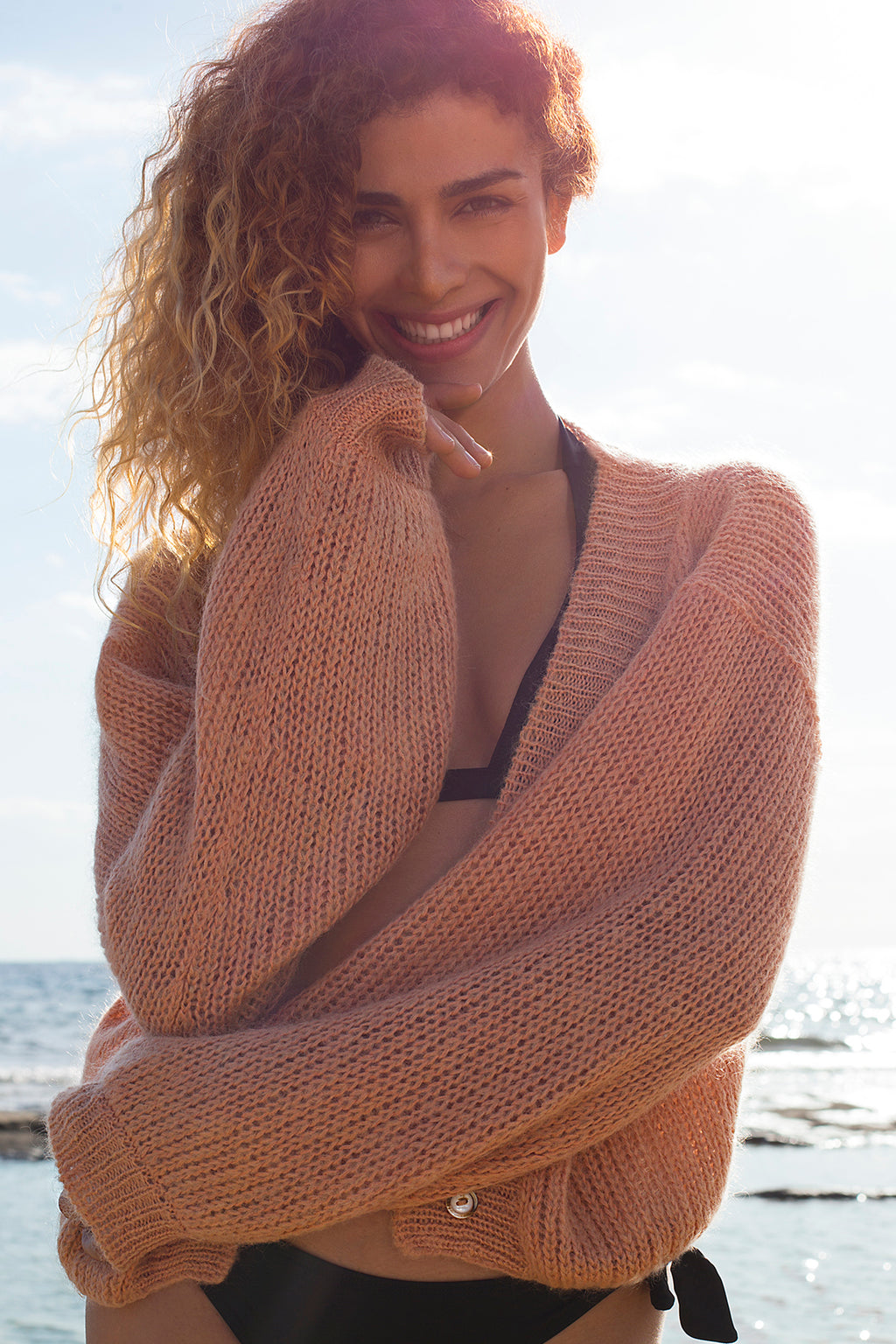 Cropped Mohair cardigan in Apricot