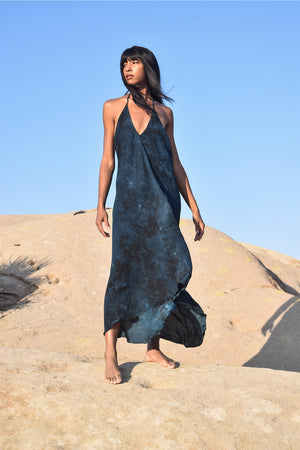 Halter dress in tie dye silk in midnight blue / black