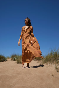 Kaftan dress in Vintage Petal in Cinnamon