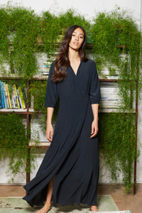 Bohemian Tea dress in block silk in Black